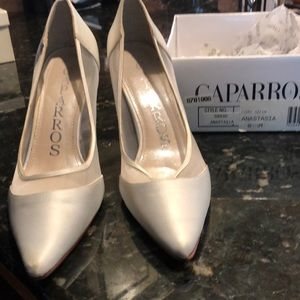 White satin and mesh dress shoes